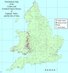 """mapsontheweb: """" Map of castles and fortified manor houses in England, Wales and the Isle of Man. British Memes, British History, Map Of Britain, Manor Houses, Vintage Maps, Cartography, Family History, Castles, Hungary"""