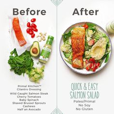 This seven-ingredient Spinach Salmon Salad is one of those easy-to-assemble meals that you can whip up in just 10 minutes! Salmon Recipes, Seafood Recipes, Diet Recipes, Vegetarian Recipes, Cooking Recipes, Healthy Recipes, Recipies, Healthy Meal Prep, Healthy Snacks