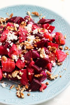 Warm roasted orange and maple beet salad with crunchy pecans and tangy goat cheese l @StephinThyme #glutenfree #vegetarian