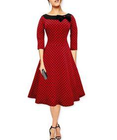 Women's Polka Dot Bowknot Dress