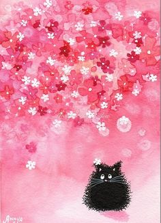 Black cat in a pretty pink flowered room