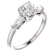 1.91 carat Round & baguette diamonds 3-stone ring white gold 14K