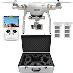 Bundle Includes #DJI Phantom 3 Professional Quadcopter Drone with 4K Camera and 3-Axis Gimbal Professional Hardshell Custom Aluminum Carrying Case for all DJI Ph...