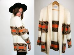 Vintage 1970's Native American Influenced Neon Orange Cream and Brown Retro Sweater Acrylic Women's One Size Fits Most by thiefislandvintage on Etsy