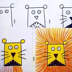 Ob Vertretungsstunde, Kunstunterricht oder zum Buch vom Löwe der nicht schreibe… Whether showing lesson, art lesson or the book of the lion who could not write … Simple step by step instructions for the … Kindergarten Art Lessons, Art Lessons Elementary, Drawing For Kids, Art For Kids, Classe D'art, Afrique Art, Lion Art, School Art Projects, Spring Art