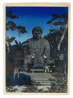 Kamakuru Daibutsu, woodblock print, c.1919-24 ~ Elizabeth Keith