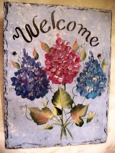 Hand Painted Slate Welcome Sign Welcome Spring by ABeautifulGift