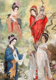 The Four Great Beauties of Ancient China    The Four Beauties are four ancient Chinese women renowned for their beauty. The scarcity of historical records concerning them meant that much of what is known of them today has been greatly embellished by legend. They gained their reputation from the influence they exercised over kings and emperors and