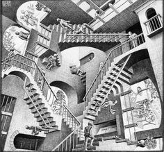 Free coloring page coloring-mc-escher-relativity. The famous drawing 'Relativity' by Mc Escher . Where is the begining? Illusion Kunst, Illusion Art, Optical Illusion Stairs, Illusion Quotes, Illusion Paintings, Illusion Pictures, Illusion Drawings, Mc Escher Relativity, Relativity Theory