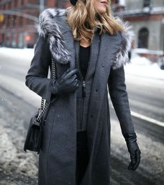 Grey Coat and Knit Joggers for a Snowy Day One of NYFW