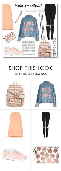 """Theme: Back to School"" by thefashiontheme ❤ liked on Polyvore featuring Herschel Supply Co., High Heels Suicide, Whistles, BCBGMAXAZRIA, Topshop, adidas Originals, Casetify, tftbacktoschool, tftstripes and tftsneakers"