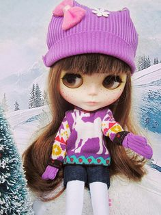 Blythe purple reindeer sweater winter snow outfit set by buyblythe, ฿750.00