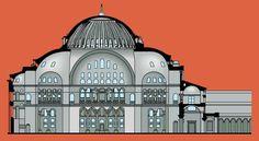 Hagia Sophia, cross section Hagia Sophia Istanbul, Byzantine Art, Religious Architecture, Early Christian, Ottoman Empire, Istanbul Turkey, Art History, Westerns, Cathedral