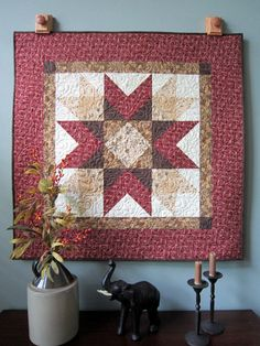 Primitive Quilted Wall Hanging or Table Topper  by QuiltedbyTommyD, $95.00