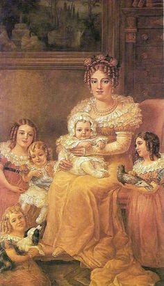 """D. Maria Leopoldina de Áustria e seus Filhos"". (by Domenico Failutti)."