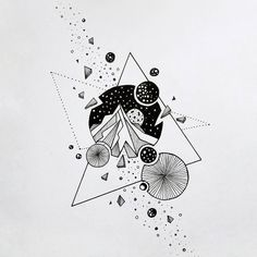 way Geometric Inspiration Space Drawings, Cool Art Drawings, Art Drawings Sketches, Ink Illustrations, Tattoo Sketches, Kritzelei Tattoo, Doodle Tattoo, Doodle Art, Watercolor Tatto