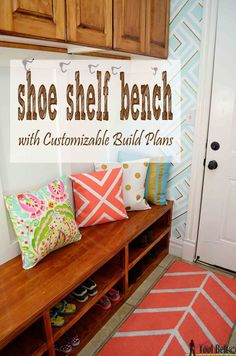 Build a shoe shelf bench to organize those frequently used shoes. Easily kick your shoes in and be on your way. Free plans customized to your dimensions. Ideas Hogar, Diy Décoration, Easy Diy, My New Room, Mudroom, Home Organization, Home Projects, Diy Furniture, Automotive Furniture
