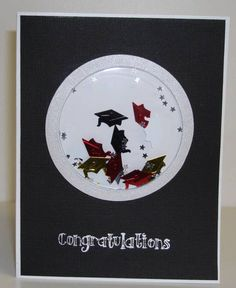 Super shaker card filled with graduation cap and star confetti.  Make yours black and white like this one or coordinate with the graduation colors.  DIY graduation card.