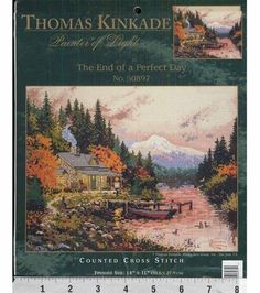 Thomas Kinkade Counted Cross Stitch Kit-End of a Perfect Day