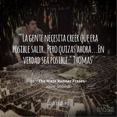"""Read Frase from the story ~The Maze Runner Frases~ by Jooo_Stilinski (jose) with 853 reads. """"La gente necesita creer que era pos. Maze Runner The Scorch, Newt Maze Runner, Runner Quotes, The Scorch Trials, Sharing Quotes, Dylan O'brien, Love Book, Teen Wolf, Book Lovers"""