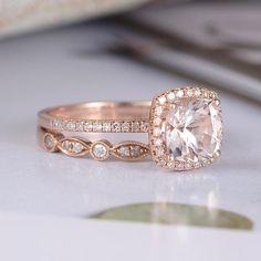 Cushion Cut Engagement Ring, Morganite Engagement, Rose Gold Engagement Ring, Engagement Ring Settings, Diamond Wedding Rings, Bridal Rings, Morganite Ring, Diamond Rings, Diamond Jewelry