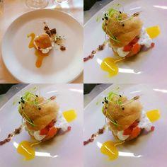Chef e Cultura #Pizza #fritta con #trota #marinara e #spuma di #caprino. #Chef Giorgio Cabella del ristorante Da Giovannino di #Malgrate👍🍷🍷