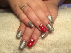 Rainbow silver and scarlet red acrylic nails