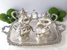Vintage Silver Plate Coffee Tea Service Set With Tray Reed Barton Regent 5600 by InventifDesigns on Etsy