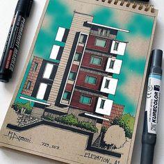 Architecture Design, Architecture Concept Drawings, Architecture Sketchbook, Architecture Magazines, Facade Design, Architecture Student, House Design Drawing, Interior Design Sketches, Building Design