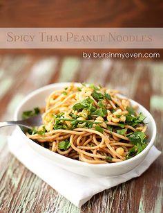 Spicy Thai Peanut Noodles #recipe by bunsinmyoven.com