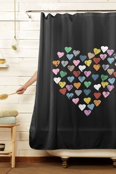 Apr 2020 - Colorful Hearts Black Shower Curtain by Emeline Tate of Project M for Threadless Artist Shop Plaster Paint, Black Shower Curtains, Diy Curtains, Curtains Living, Curtain Designs, Curtain Ideas, Contemporary Shower, Colorful Wall Art, Tiny Treasures