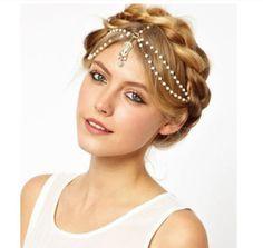 Pearl and Crystal Boho Hair and Head Jewelry
