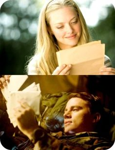Incredibly moving story, written by Nicholas Sparks, characters John and Savannah played by Channing Tatum and Amanda Seyfried in the movie adaptation: Dear John. Channing Tatum, Movies And Series, Movies And Tv Shows, Cher John, Nicholas Sparks Movies, Military Love, Chick Flicks, Movie Couples, Romantic Movies
