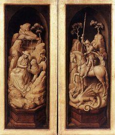 Pintura ala óleo  sobre tabla. Grisalla de las puertas del Tríptico Sforza. de Rogier van der Weyden   (1460)