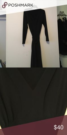 Size L EUC black Alfani dress Photos can't do it justice! This dress is super flattering! The seams and folds along the bust are really chic and subtly sexy. Midi length (about mid calf). Soft belt accentuates the waist  and hides flaws. Seriously, this dress is magic! Alfani Dresses Midi