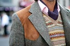 Classic hunting jacket in tweed with fair isle vest. Tweed Run, Tweed Jacket, Jodhpur, Fair Isle Pullover, Shooting Clothing, Classic Style, My Style, Real Style, Classic Man