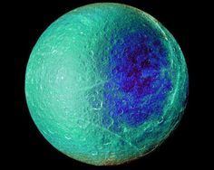 false color image of Rhea, one of Saturn's moons