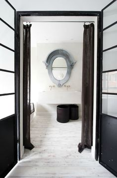 37 Inspiring Guest Toilet Designs: 37 Inspiring Guest Toilet Designs With White Wall And Mirror And Washbasin And Wooden Door