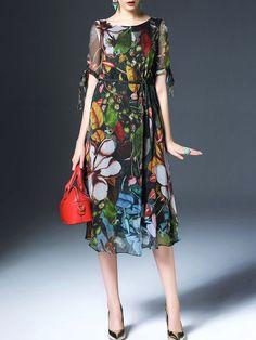 Multicolor Short sleeve A-line Floral-print Cutout Midi Dress