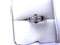 ANTIQUE EDWARDIAN PLATINUM FILIGREE RING:DIAMONDS & SAPPHIRES,1910's