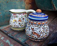 Portuguese Majolica Pottery Sugar Bowl and Collectible Creamer Set, Folk Art Ceramics Coimbra