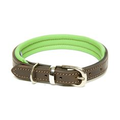 Dogs & Horses Colours Green Leather Dog Collar