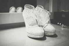 Charlene & Mark • Hilden Brewery, Lisburn • Wedding Photography Belfast - wedding shoes for the bride.