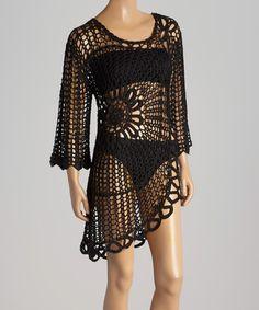 Look at this #zulilyfind! Black Freedom Crocheted Dress by Mia Melon #zulilyfinds