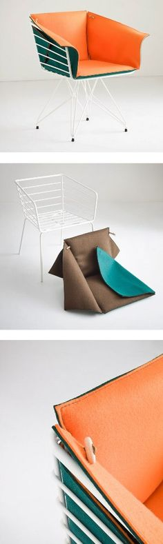 #chair made of a double cladding composed by a bi-colour #felt DUPLO by GABER | #design Favaretto&Partners