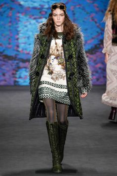 Anna Sui - So much to love in this collection! Inspired by the Vikings, there was a barbaric beauty to the show expressed through furs, shaggy coats, and folkloric prints. thestyleweaver.com Fall 2015 Ready-to-Wear