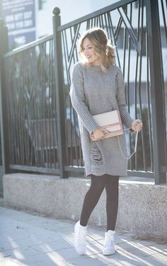 Sneakers outfit dress grey sweater 22+ Ideas #dress #sneakers Cute Sneaker Outfits, Sneakers Fashion Outfits, Outfits With Converse, Dress With Sneakers, Sweater Dress Outfit, Winter Dress Outfits, Casual Winter Outfits, High Top Jeans, Adidas Outfit