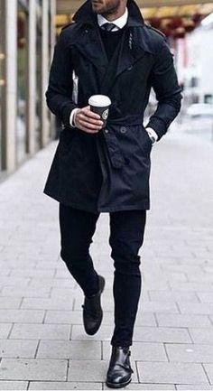 Outfit Parka Negra, Sueter Negro, Pantalón Vestir Negro, Zapatos Negros...