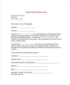 Photography Release Forms  Photography And Photography Business
