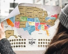 Detailed Scratch Off USA Map - Premium Edition - Watercolor United States Travel Map Gift by United States Travel Map, Usa Travel Map, World Map Wall Decor, Scratch Off, Alaska Travel, Watercolor Design, New Mexico, Map Posters, Gifts